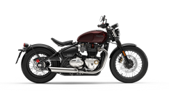 Triumph Bonneville Bobber side shot in morello red