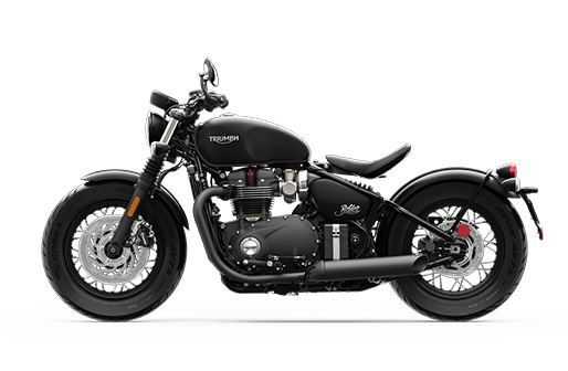 Triumph Bonneville Bobber side shot in black