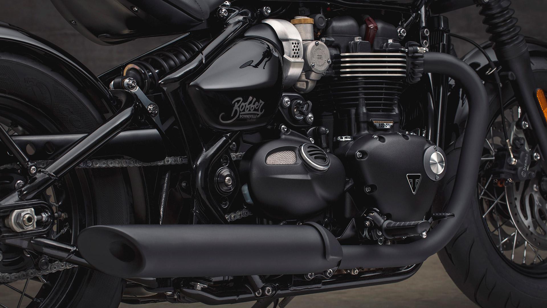 Triumph Bonneville Bobber Black Exhaust Detail