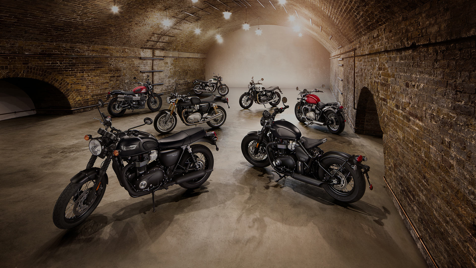 Triumph Motorcycles Classic bikes in warehouse