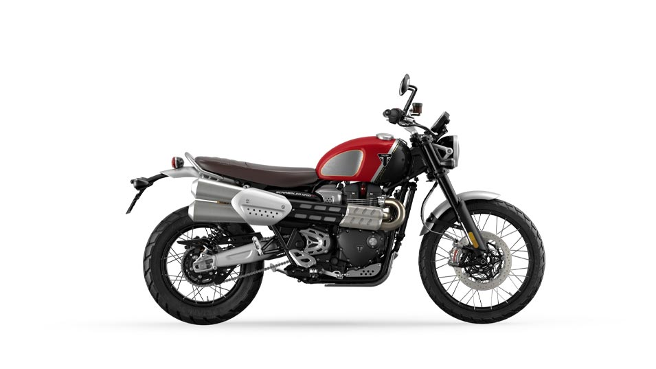 Scrambler 1200 XC goldline in carnival red and storm grey MY22
