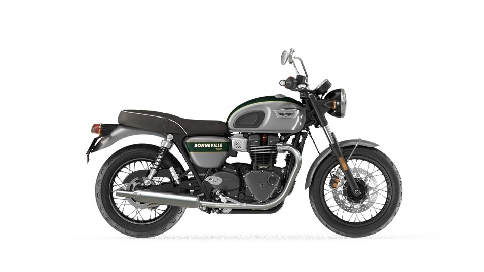 Bonneville T100 goldline in silver ice and competition green MY22