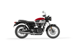 Triumph Bonneville T100 in Carnival Red and Fusion White