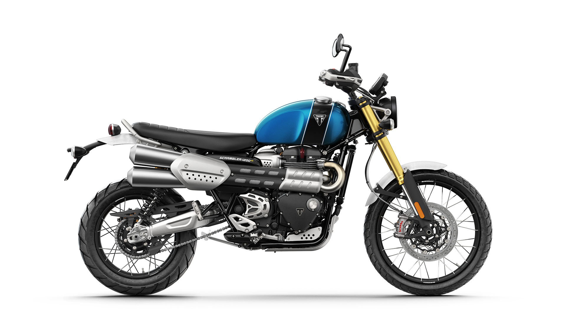 All-new Blue and Black Triumph Scrambler XE right hand side shot