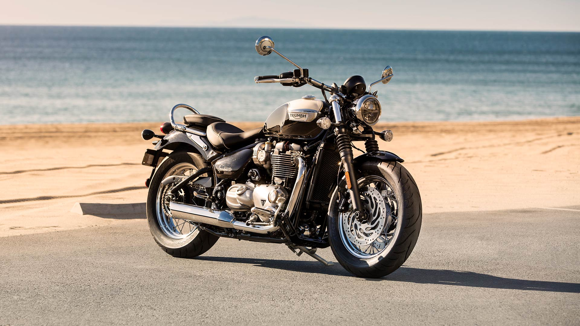 Triumph Bonneville Speedmaster side on by the sea