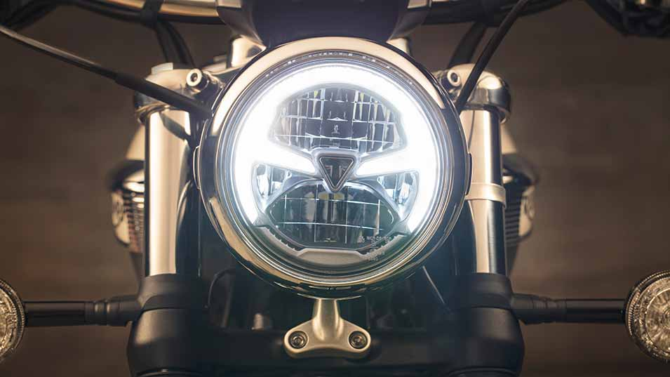 LED motorcycle headlight with Triumph Logo
