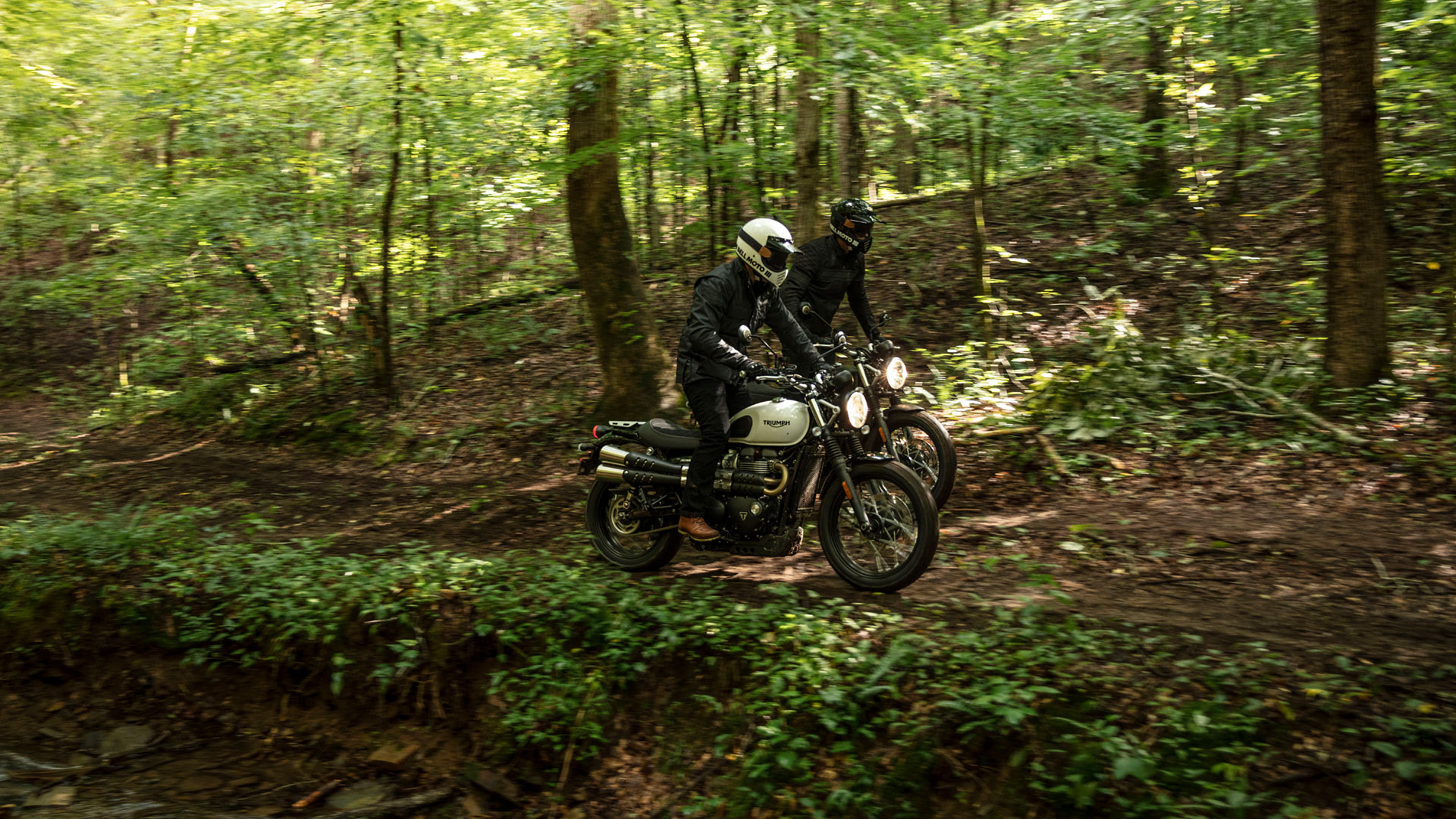 Triumph Street Scrambler riding off road through trees