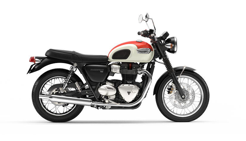 Triumph Bonneville T100 right hand facing in New England White and Intense Orange Colour option