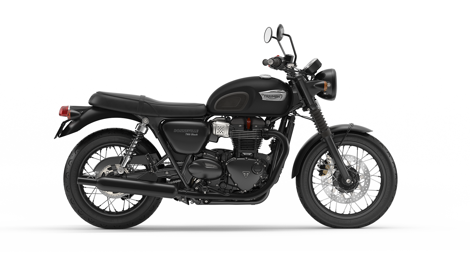 Triumph Bonneville T100 Black right hand facing in Matt Black
