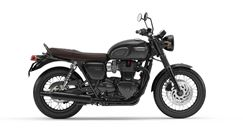 Triumph bonneville T120 motorcycle jet black side shot
