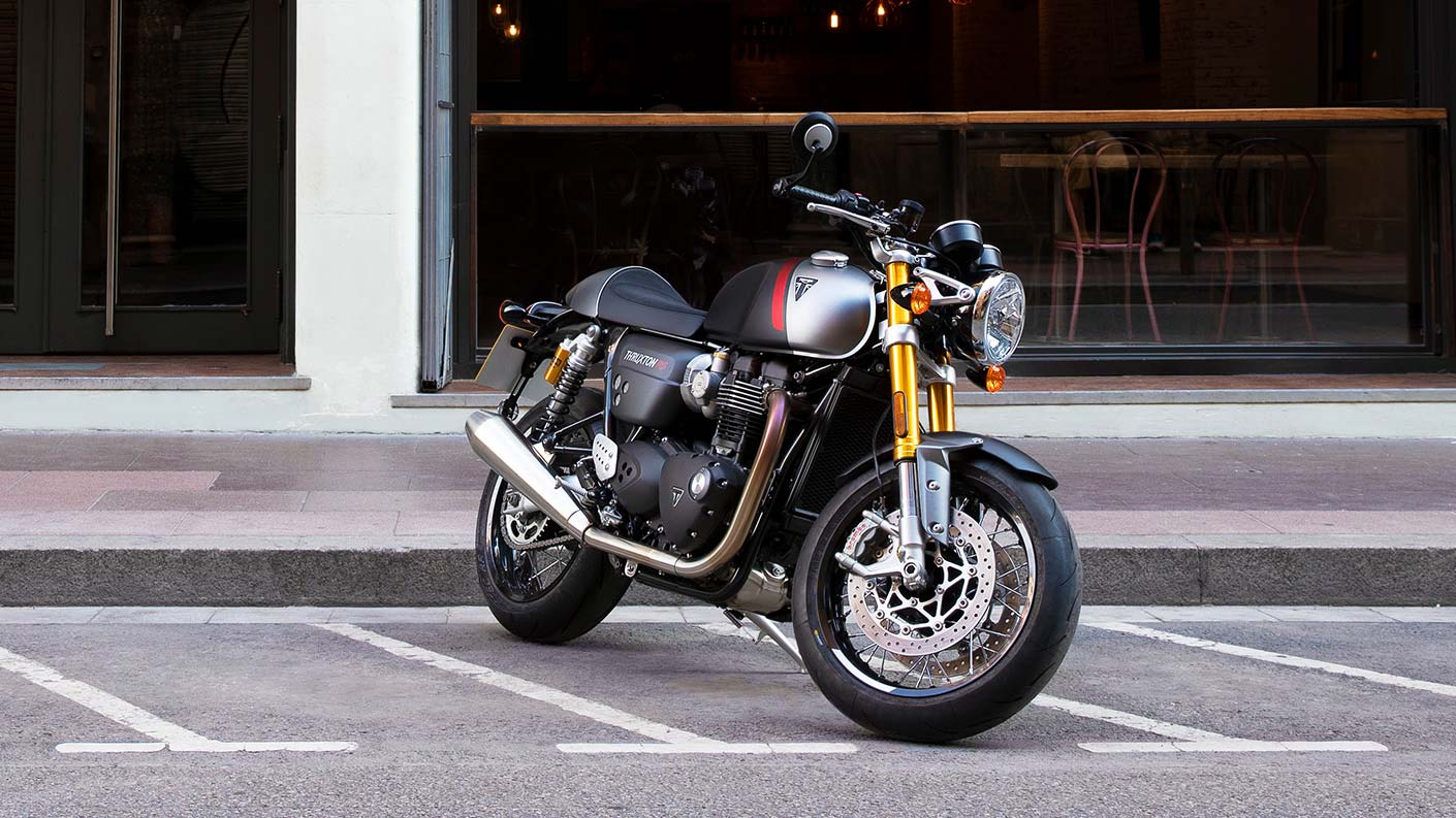 The new Triumph Thruxton RS in Matt Storm Grey & Matt Silver Ice parked