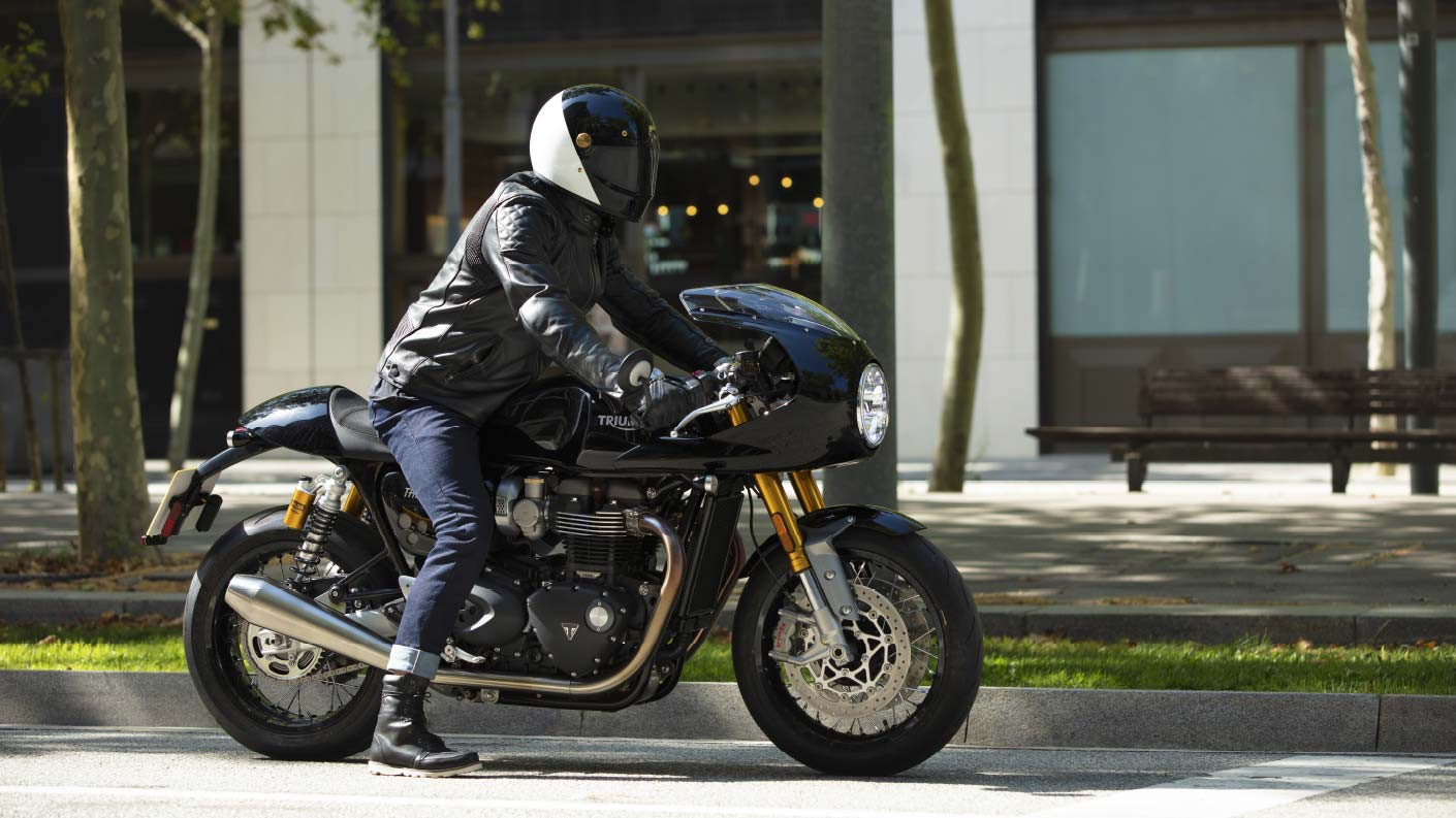 Rider ready to find his perfect ride with the new Jet Black Triumph Thruxton RS with fairing
