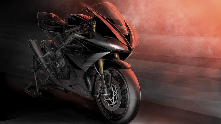Triumph Daytona Moto2 765 limited edition motorcycle drawing