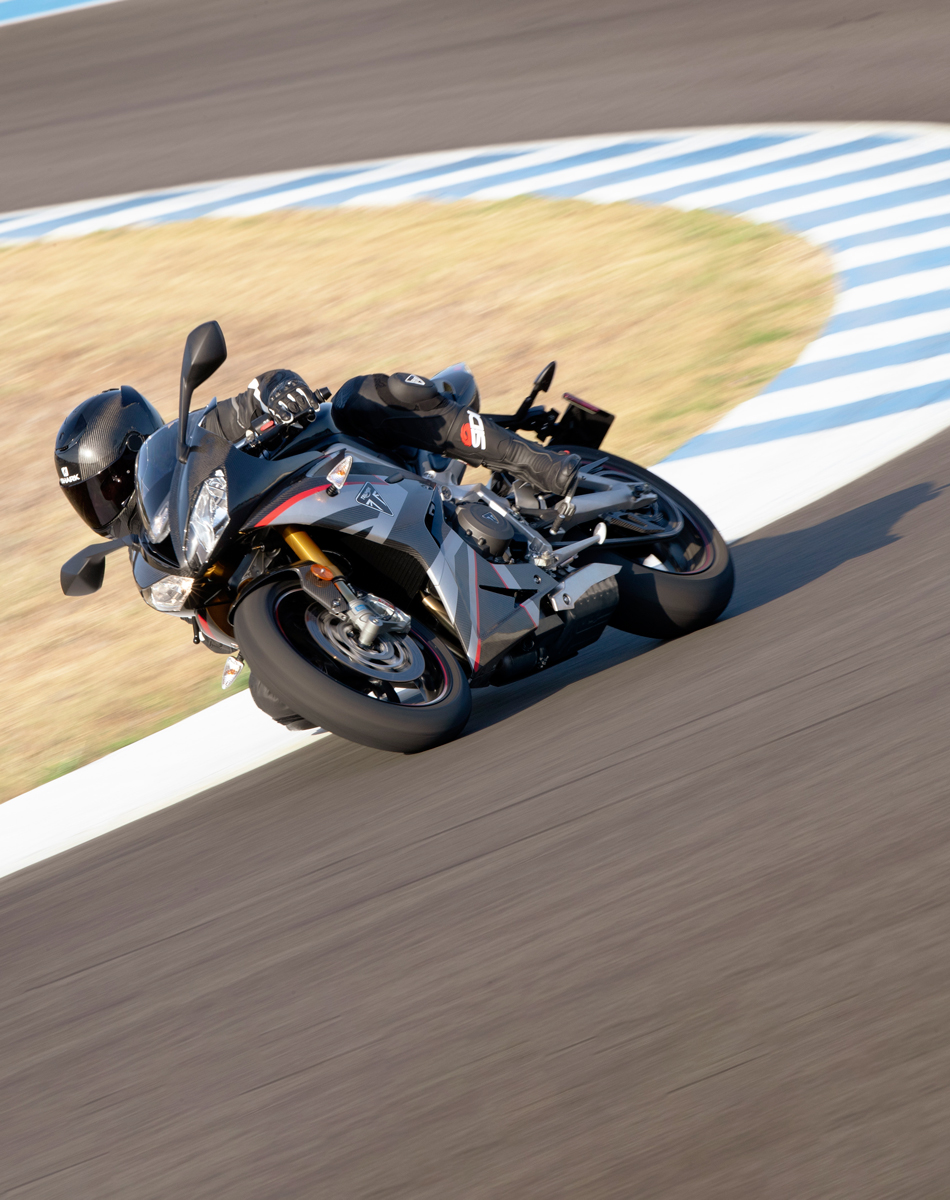 Triumph Daytona Moto2™ 765 motorcycle (USA) racing around a race track in Spain