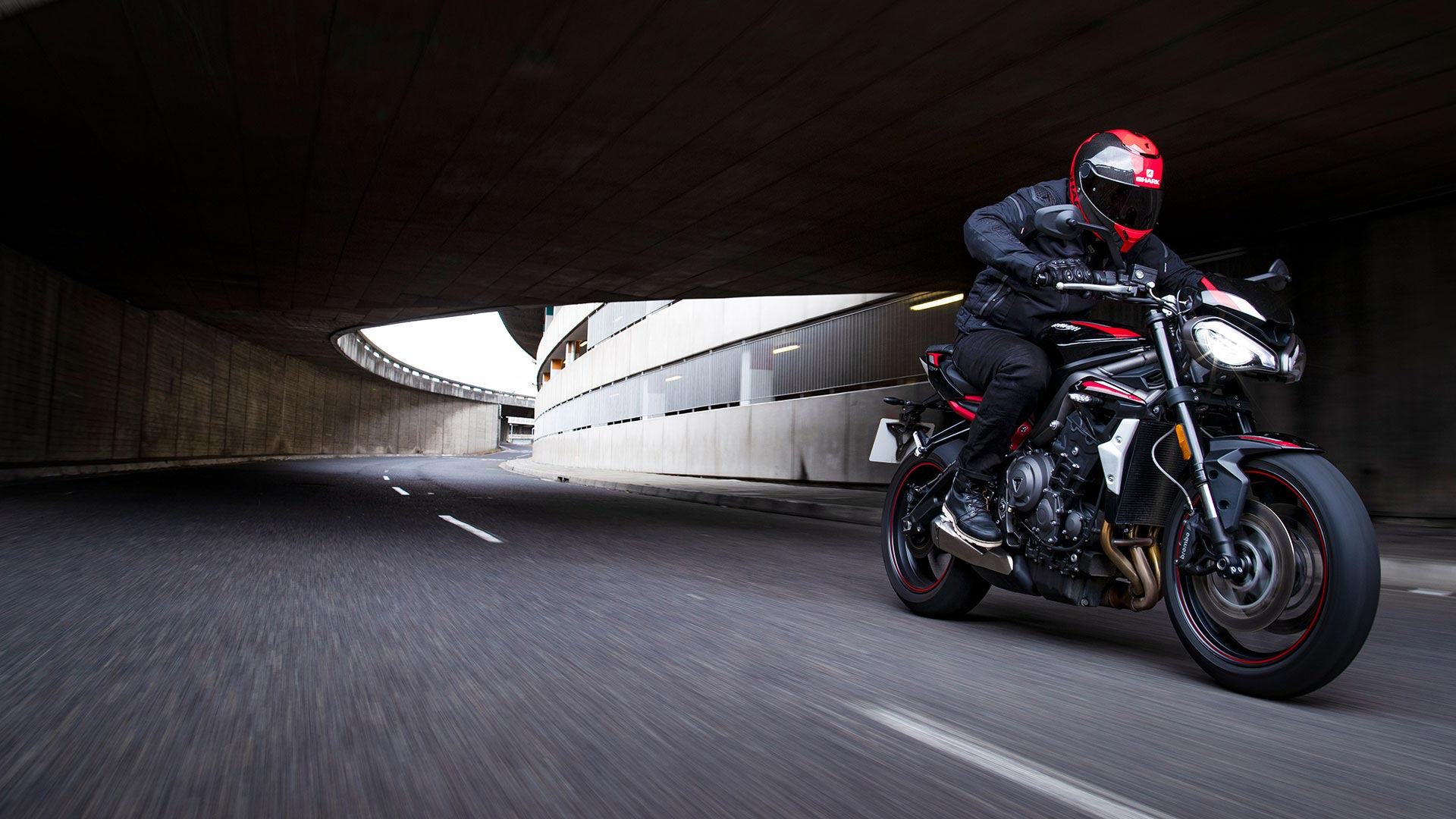 Street Triple R riding through a tunnel