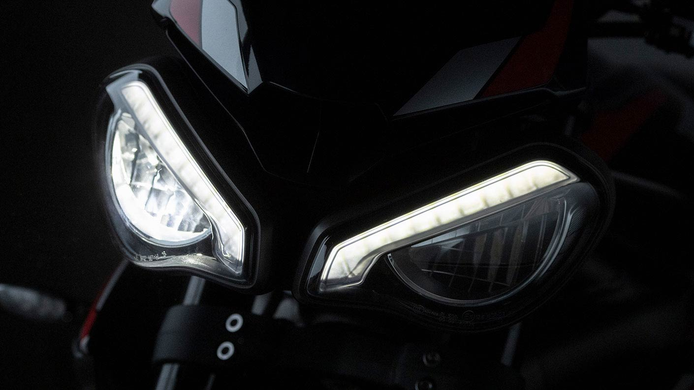 Close-up shot of Triumph Street Triple R headlights