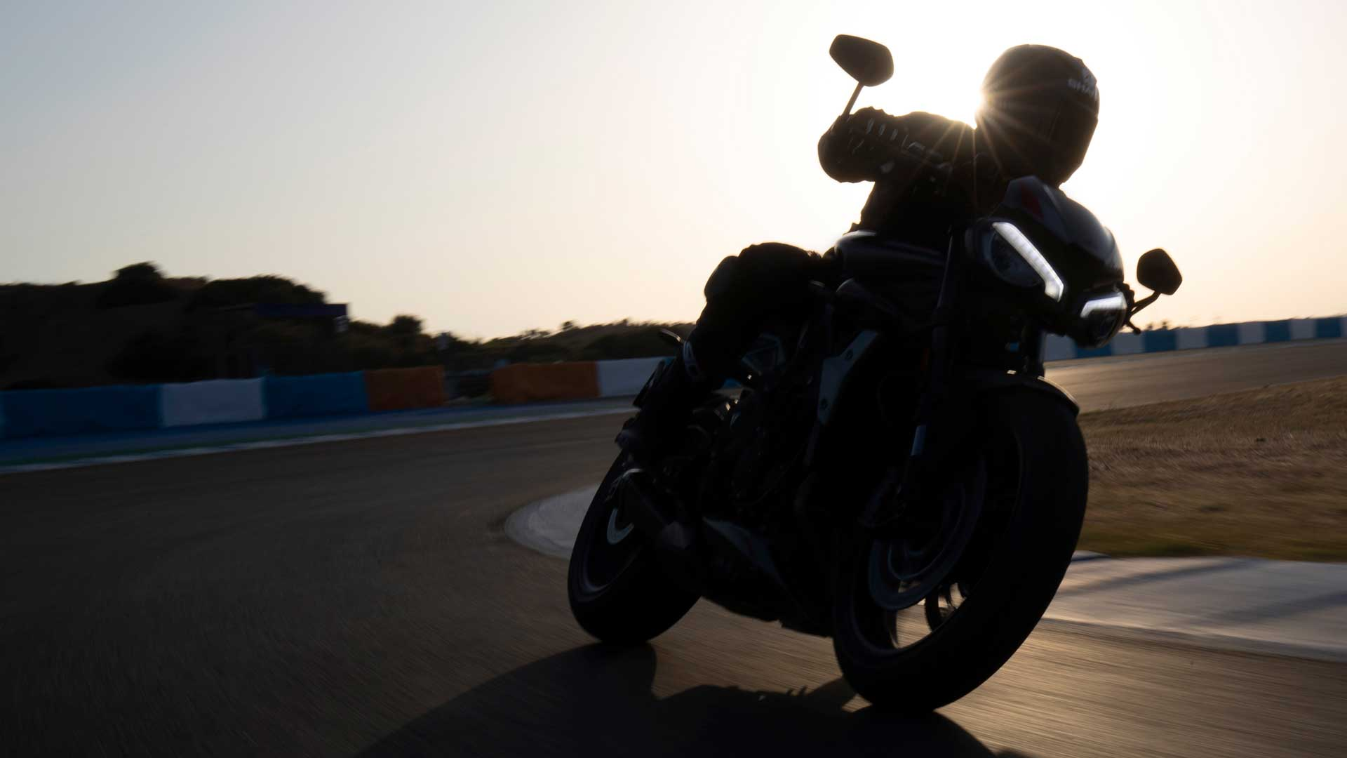 Tease shot of new Triumph Street Triple RS in action on racetrack