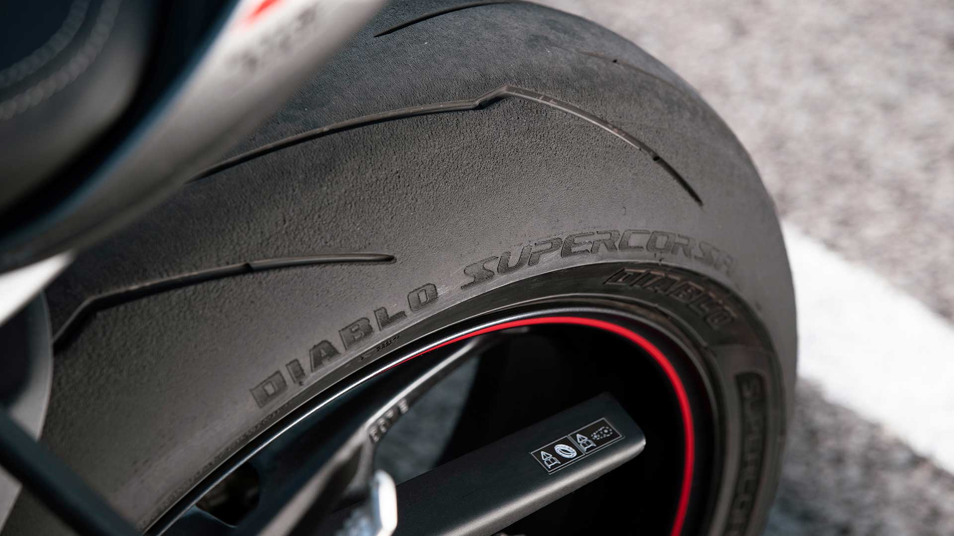 Close-up shot of Triumph Street Triple RS's Diablo Rear Tyre