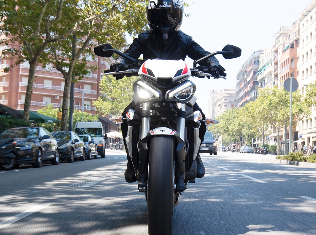 Triumph Street Triple S front on riding shot