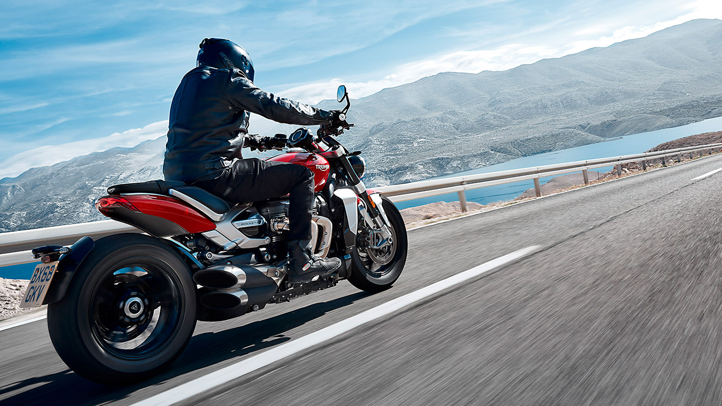 Action shot of rider on Triumph Rocket 3 showcasing its all-new unique aluminium frame