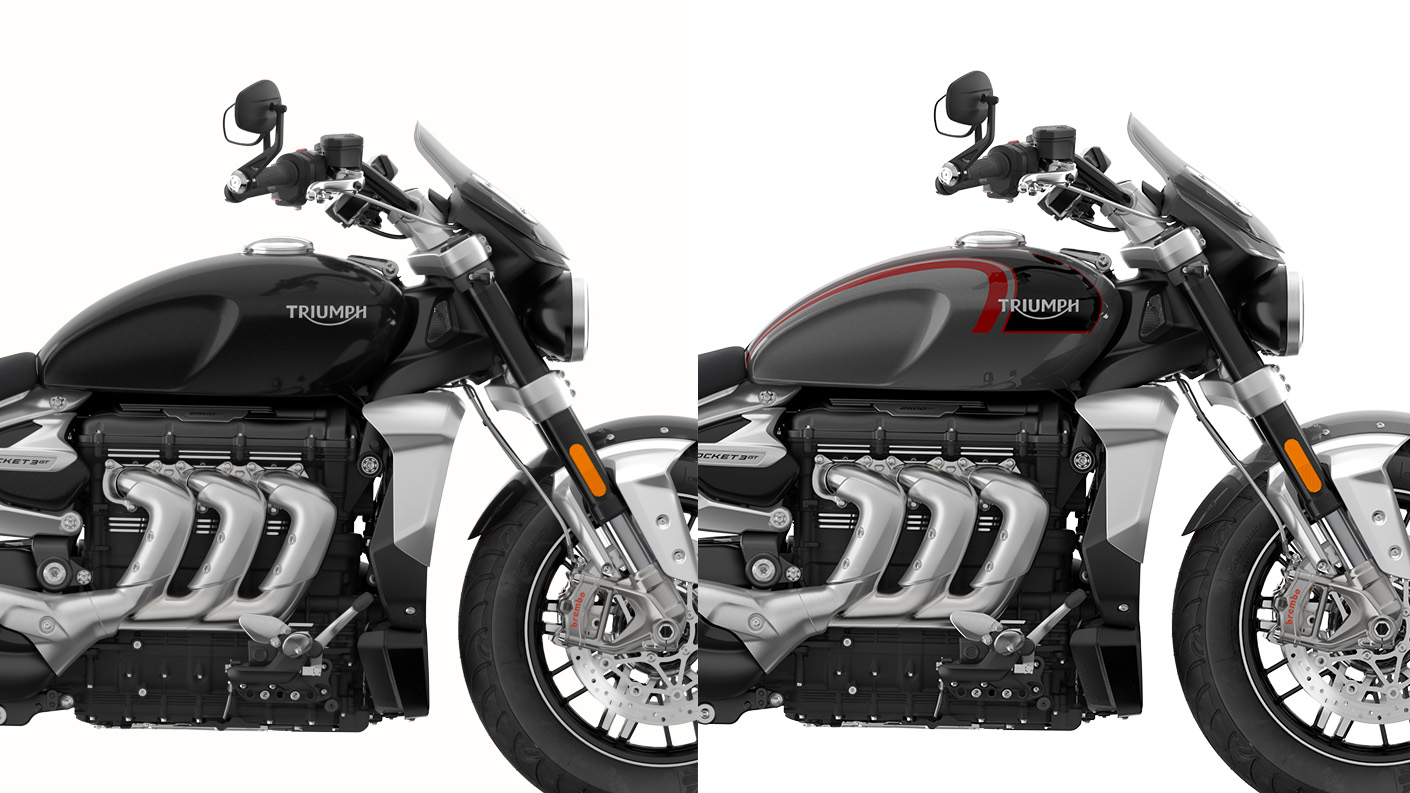 Comparison CGI shot of the Triumph Rocket 3 GT range in Phantom black and Silver Ice & Storm Grey, displaying the triple engine and class-defining finish