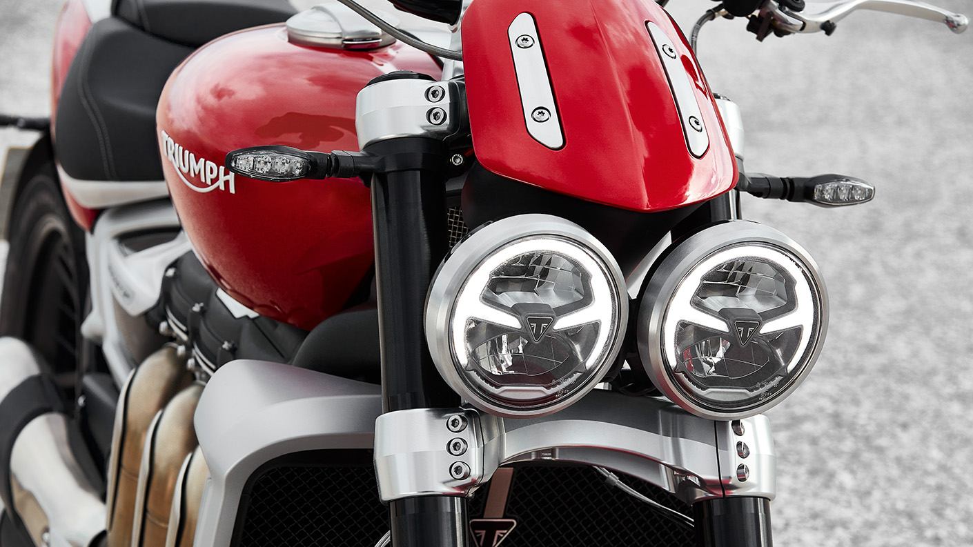 The all-new Triumph Rocket 3 R with its signature twin LED headlight
