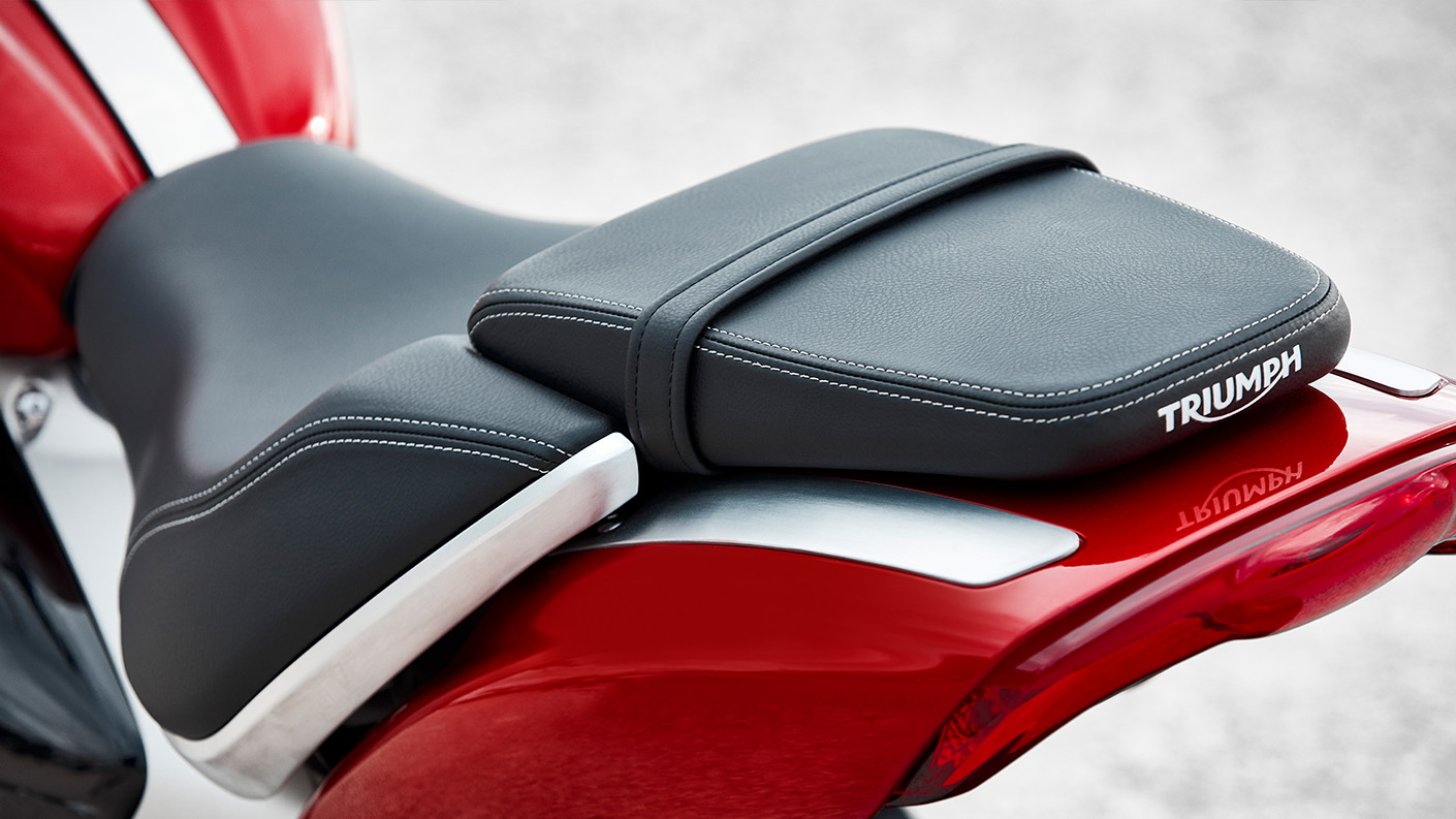 The new Triumph Rocket 3 R's sculpted roadster rider and pillion saddle which comes with cast aluminium finishers underneath the rider seat.