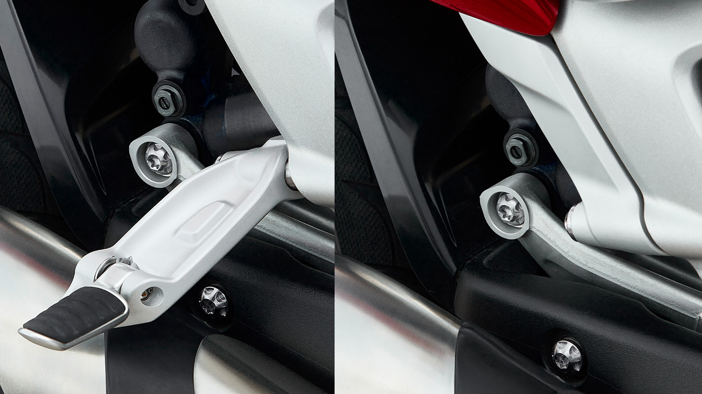 Triumph Rocket 3 R showing the fully foldaway pillion footrests that can be can be hidden from view