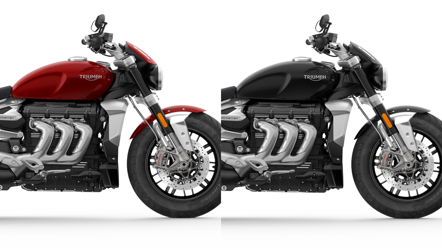 CGI for colour comparison of Triumph Rocket 3 R in Korosi Red and Phantom Black