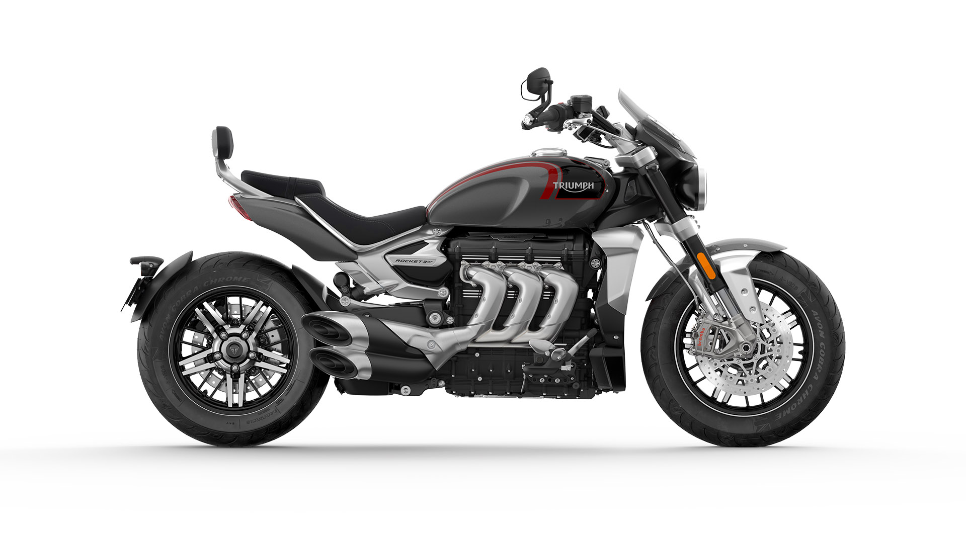 Side CGI shot of Triumph All-new Silver Ice and storm grey colour of the Rocket 3 GT.