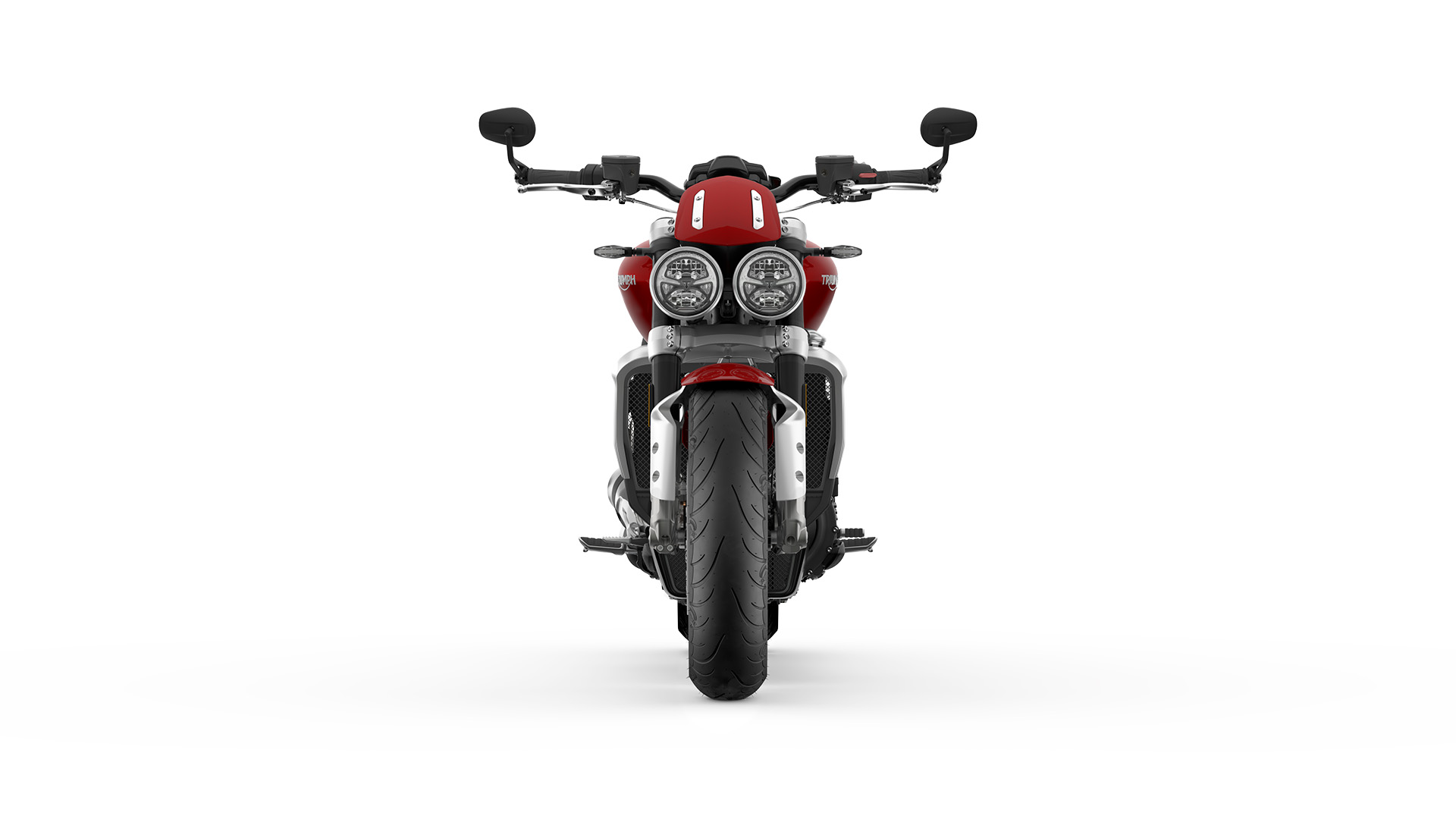 The front CGI view of the new Triumph Rocket 3 R featuring the twin LED headlights