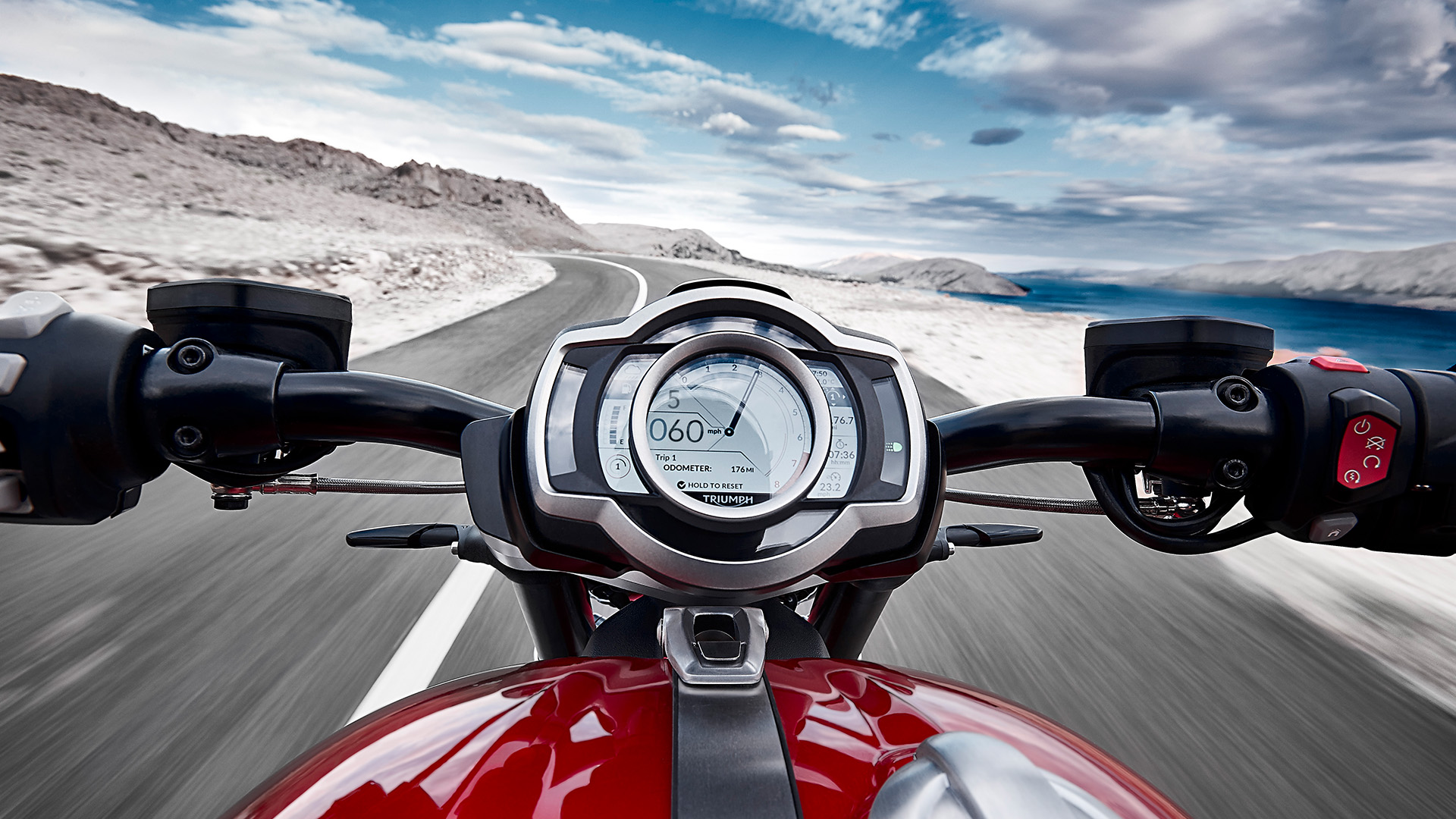 Handling view of the Triumph Rocket 3 R built with a focus of the second generation TFT instruments