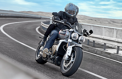 Triumph Rocket 3 GT in Silver Ice & Grey cornering
