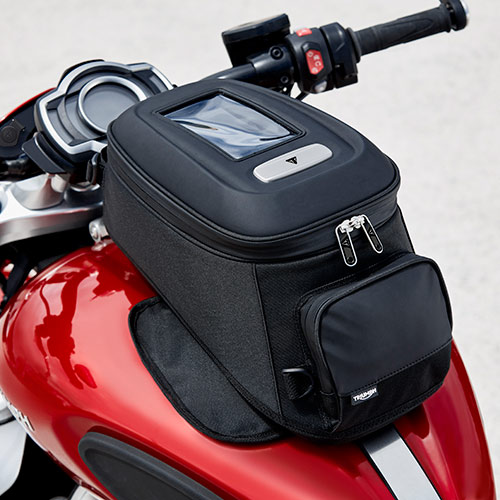 Triumph magnetic mounted tank bag with 12-litre capacity on the Rocket 3 R