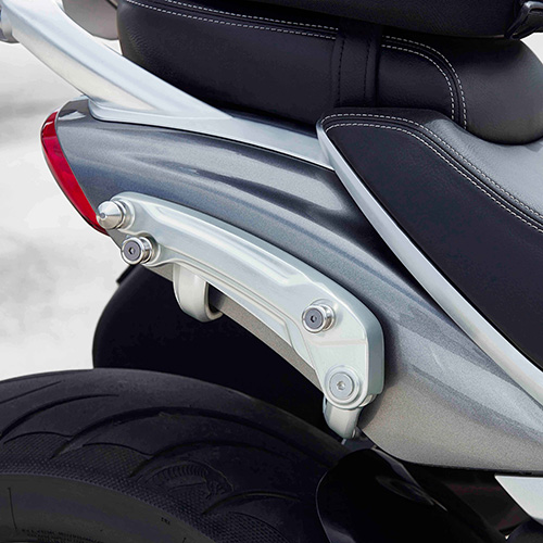Triumph genuine pannier mounting kit fitted to Triumph Rocket 3 GT in aluminium silver and storm grey