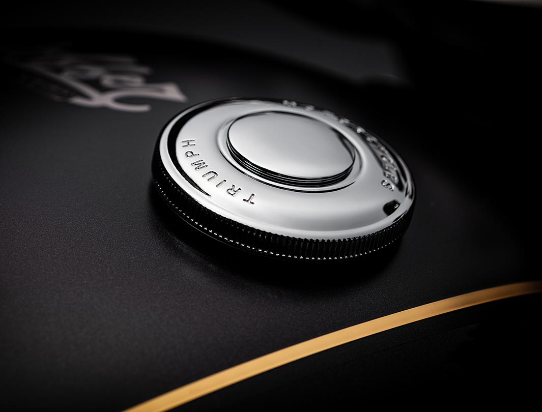 Close-up shot of the Triumph Bobber TFC's filler cap