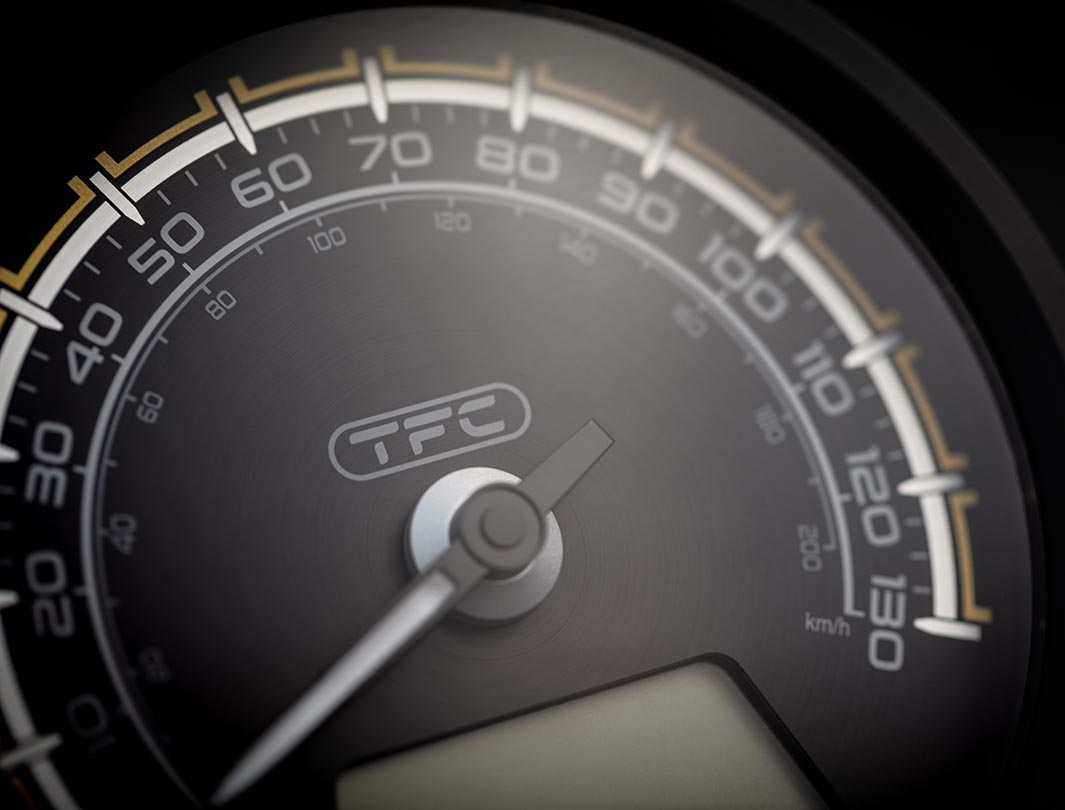 Close-up shot of the Triumph Bobber TFC's beautiful TFC-branded dial face
