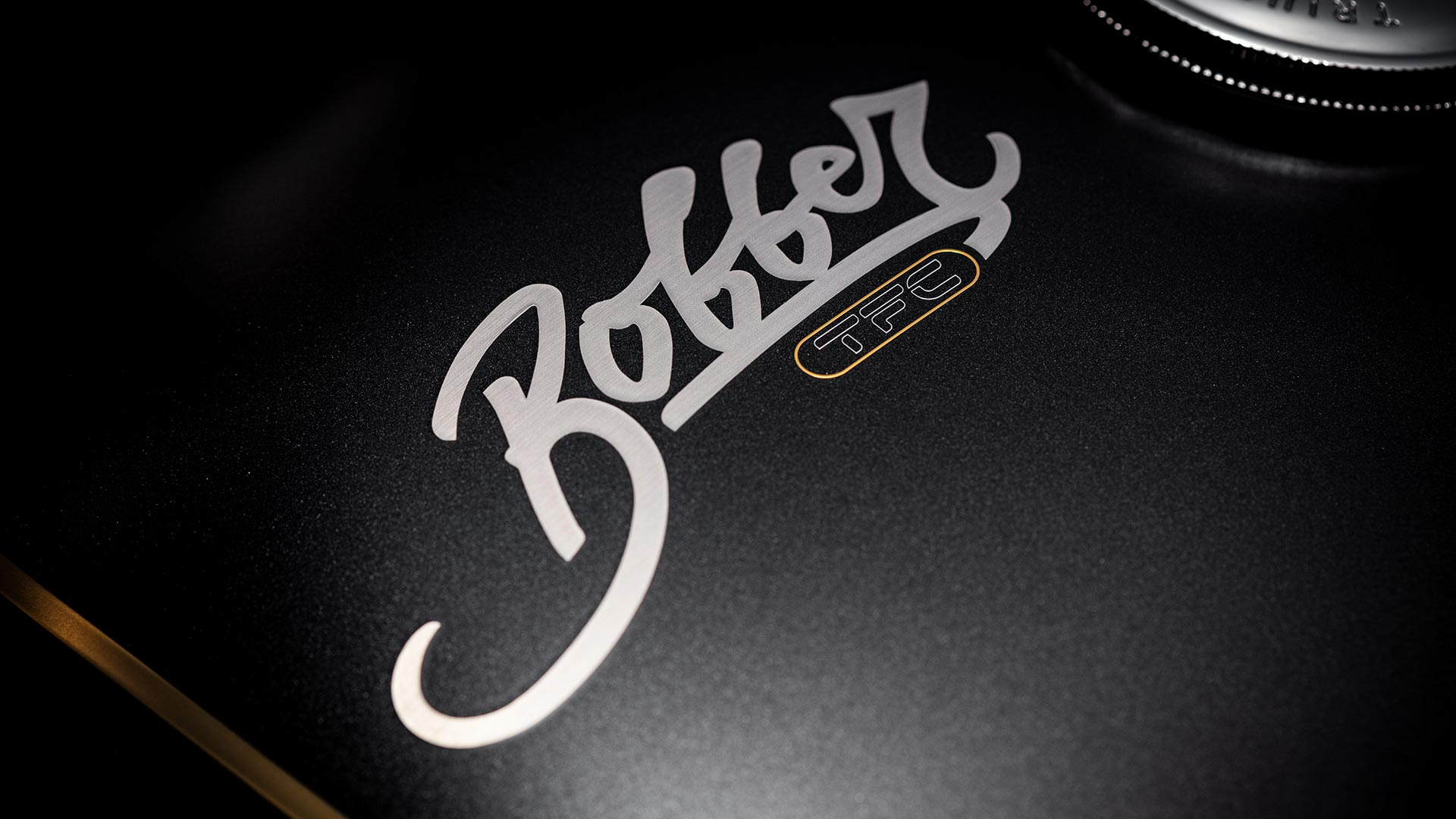 Close-up of the unique Bobber TFC branding