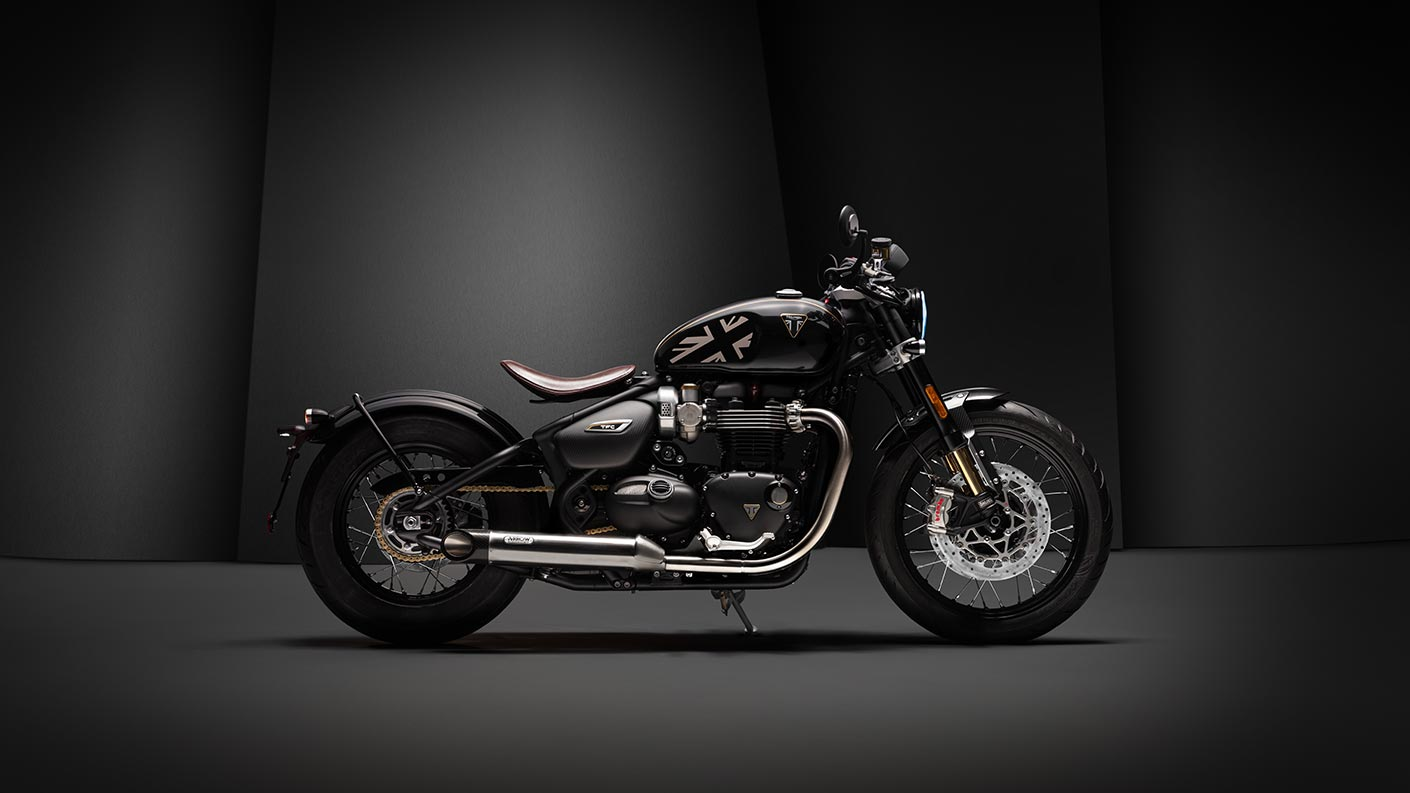 Right-facing shot of the Triumph Bobber TFC