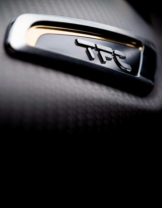 Close-up shot of the Triumph Bobber TFC's branded carbon fibre side panel