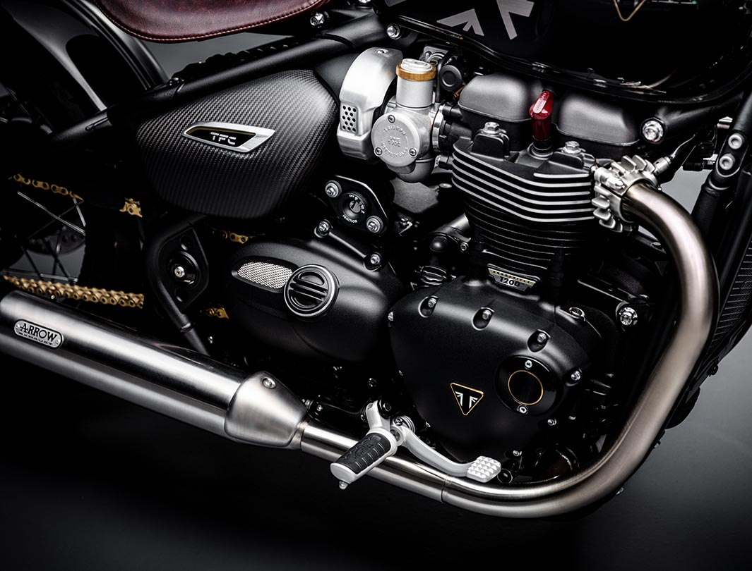 Shot of the Triumph Bobber TFC's powerful engine