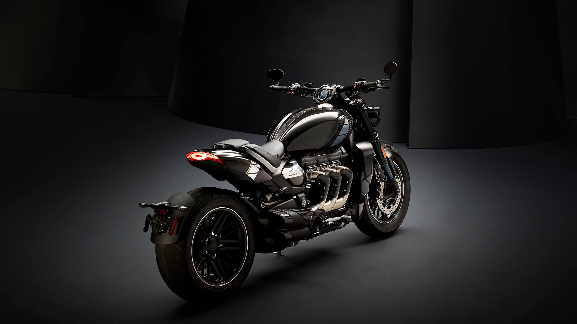 Triumph Rocket 3 TFC rear three quarters featuring three header exhaust run