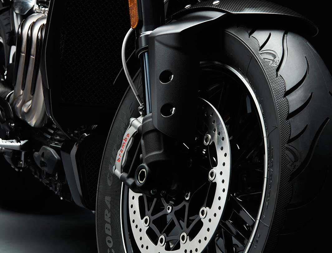 Triumph Rocket 3 TFC front wheel featuring high specification Brembo brakes