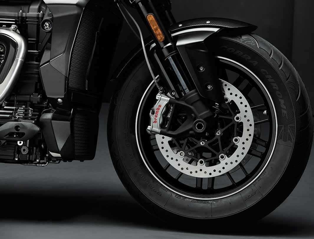 Triumph Rocket 3 TFC front wheel featuring brembo brakes