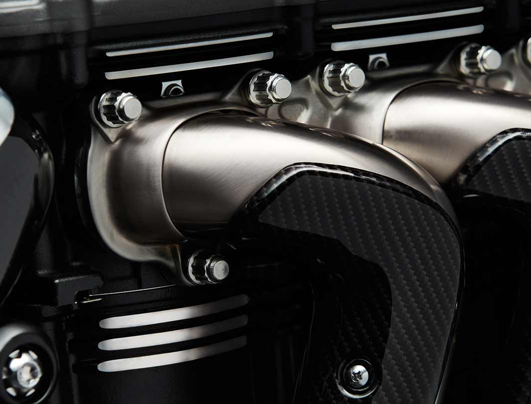 Triumph Rocket 3 TFC three header exhaust featuring premium carbon fibre detailing