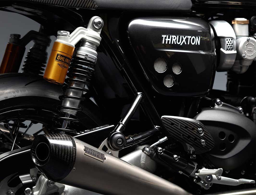 Triumph Thruxton TFC rear suspension unit and exhaust