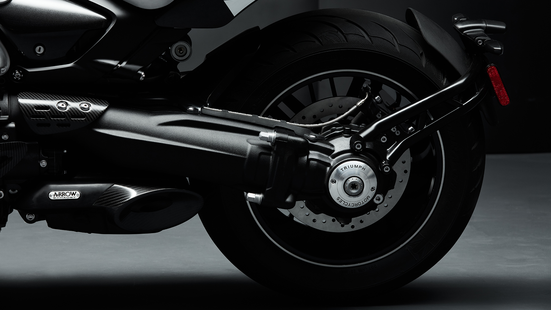 Triumph Rocket 3 TFC swing arm with premium detailing