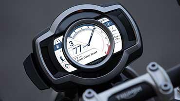 Triumph Scrambler 1200 TFT display showing turn-by-turn navigation