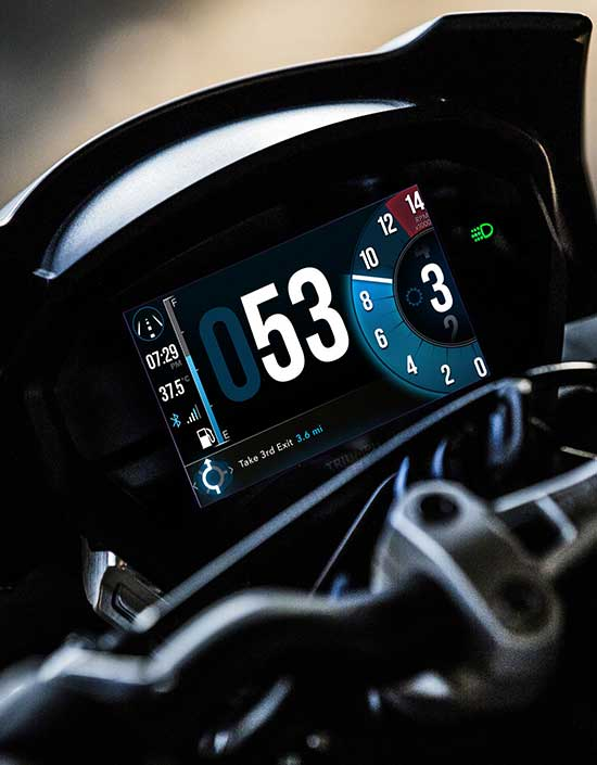 Triumph TFT Connectivity showing the turn-by-turn navigation on a Street Triple RS display