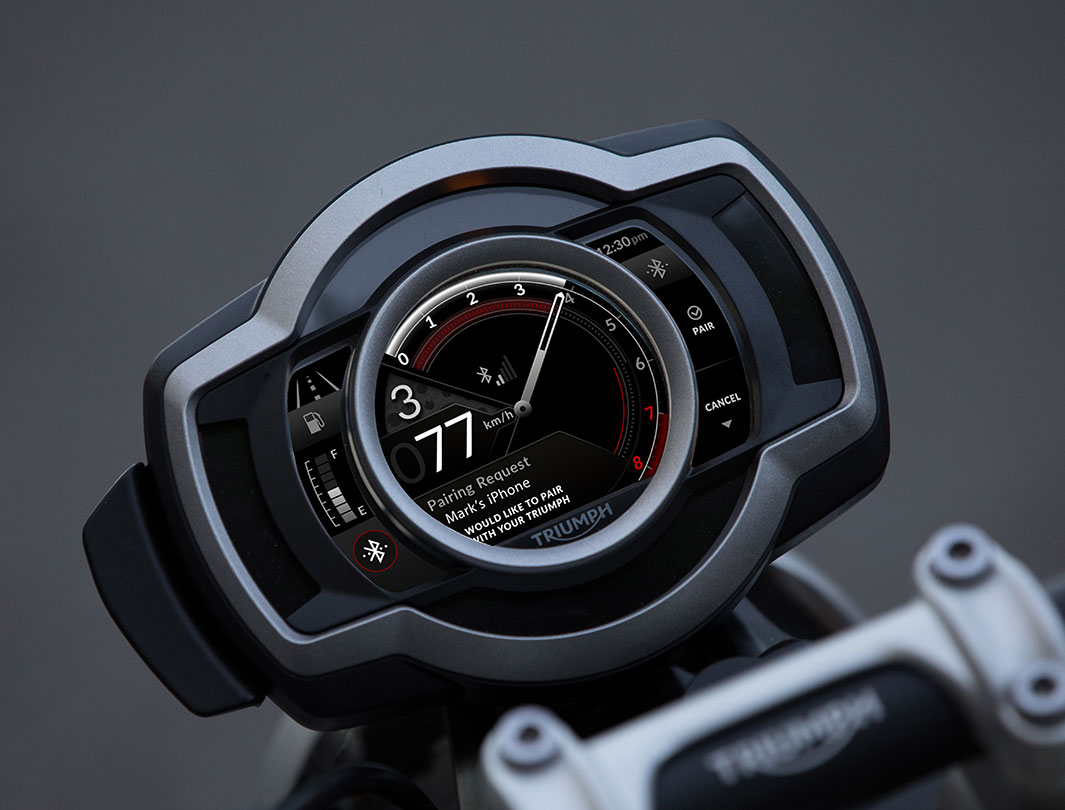 My Triumph Connectivity module displaying the Bluetooth pairing to the App